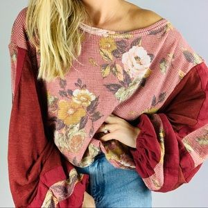 FREE PEOPLE Floral Balloon Sleeve Thermal Sweater